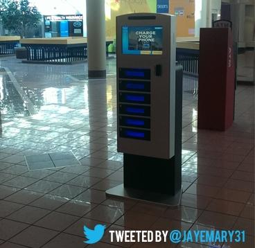 Phone charging kiosk with lockers