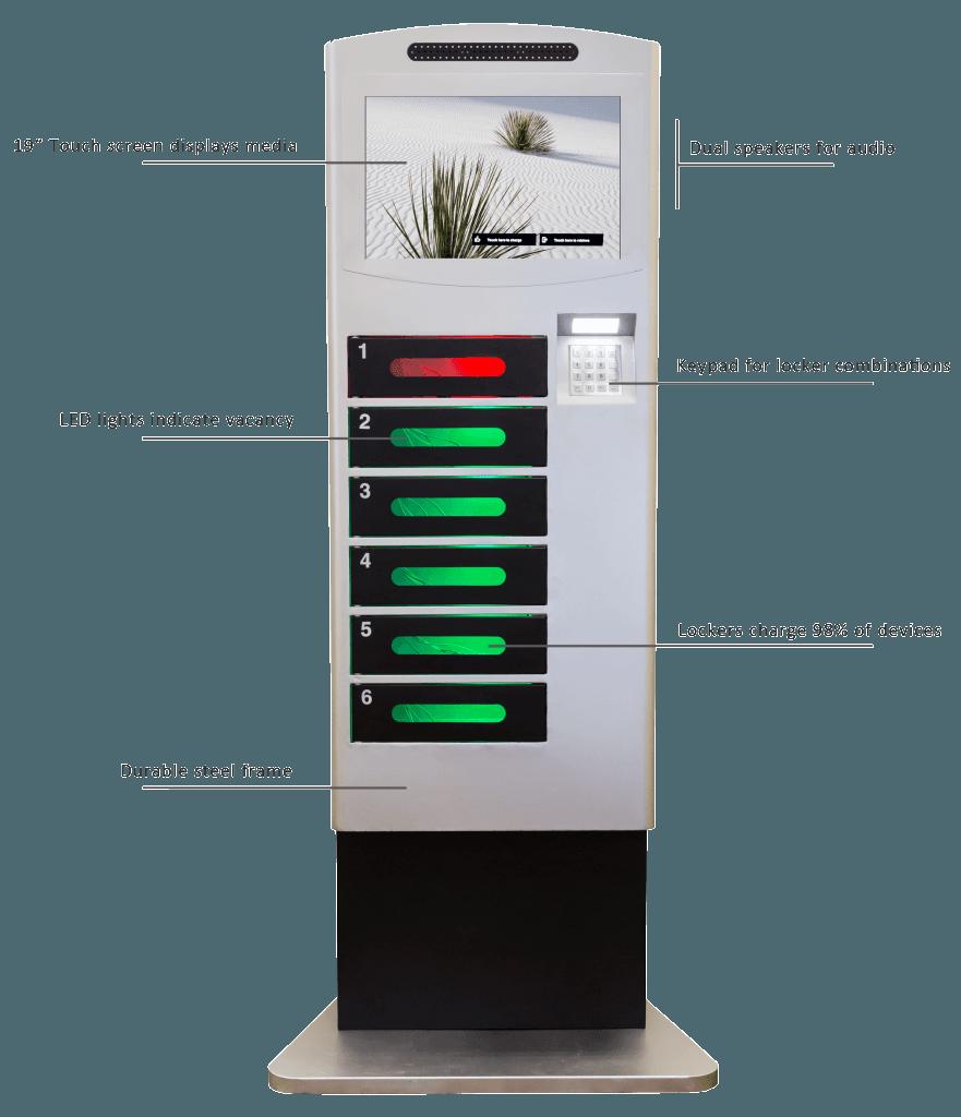Cell phone charging kiosks lockers