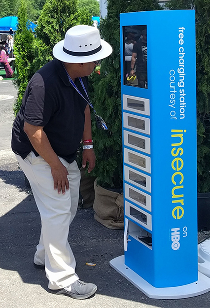 Cell Phone Charging Stations at Music Festival